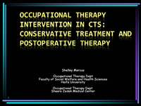 Occupational Therapy Intervention in CTS: Conservative Treatment and Postoperative Therapy